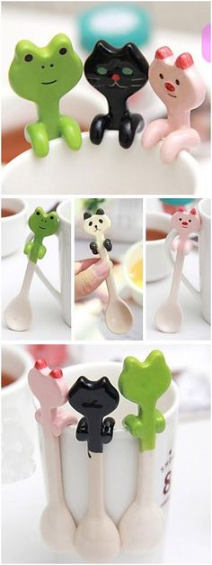 Hanging Ceramic Animal Spoons // Hang them on your Cups, Mugs & Bowls ... SO cUte!: