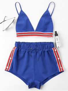 Two Pieces Women Set Bra Crop Top With High Cut Tie Elastic Waist Shorts Suit Outfits Beachwear Women Sets Crop Top And Shorts, High Waisted Shorts, Cropped Top, Crop Tops, Summer Outfits, Cute Outfits, Two Piece Outfit, Teen Fashion Outfits, Trendy Fashion