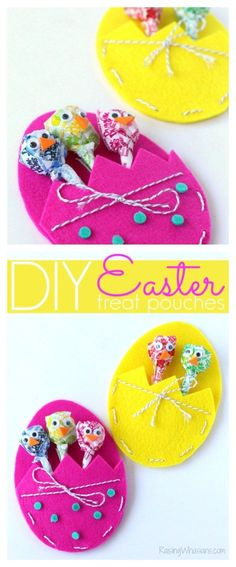 DIY Easter Treat Bags Craft for Kids is part of Kids Crafts Ideas For Easter - DIY Easter Treat Bags Craft for Kids Make this adorable and easy Easter treat pouch for holding your favorite Easter treats! Perfect for gifting