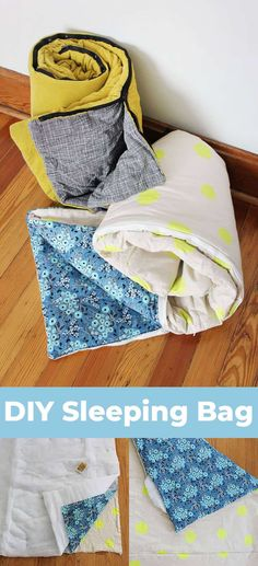 How to Sew Your Own Sleeping Bag is part of Upcycled Crafts Sewing Fabrics - It's not always easy to find cute sleeping bags for the occasional glamping trip or a weekend sleepover Easy Sewing Projects, Sewing Projects For Beginners, Sewing Hacks, Sewing Tutorials, Sewing Tips, Sewing Ideas, Diy Projects, Sewing Lessons, Glamping