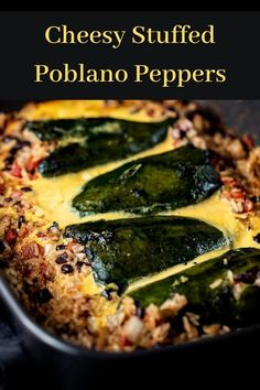 Fire roasted Stuffed Poblano Peppers with a zesty mixture of Mexican inspired rice, black beans, tomatoes and chilies, and baked in a creamy cheese sauce! Poblano Recipes, Chili Recipes, Veggie Recipes, Mexican Food Recipes, Vegetarian Recipes, Cooking Recipes, Healthy Recipes, Pepper Recipes, Mexican Desserts