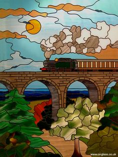 Great Western steam train and Viaduct stained glass window