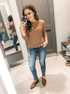 I've got a fun little fall Target try-on for you today. There are so many great fall pieces at Target this season, and I found the quality to be really good, and lots of these items remind me… Camo Sweatshirt, Little Falls, Warm Autumn, Early Fall, Henley Shirts, Brown Dress, Try On, Fall Wardrobe, Striped Tee