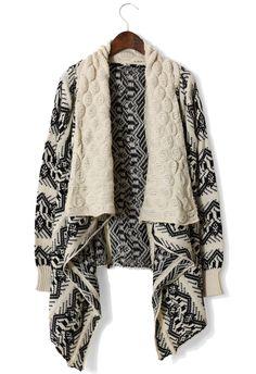 Aztec Knit Loose Drape Cardigan