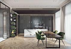 Cuisine élégante en gris avec îlot en marbre, design Tolko Interiors