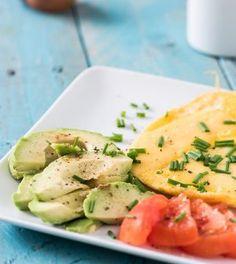 Gebakken ei met avocado en tomaat.Smullen! Het ei zorgt voor de nodige eiwitten en de avocado levert de juiste gezonde vetten - een goede basis voor de dag!