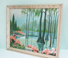 Vintage Paint By Number Framed Serene Landscape Painting of a Pond and Trees in Shades of Green, Blue and Peach
