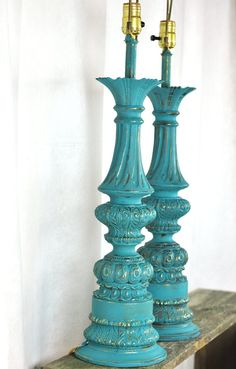 Moroccan Lamps Set of 2 Pair Painted Vintage Brass Ornate Dark Turquoise Blue Tall Table Lamps on Etsy, $88.00