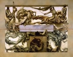 """Giulio Aristide Sartorio, 1907, Le Tenebre (dal ciclo """"La Vita Umana""""). Olio su tela, 503 x 716 cm. Venezia, Fondazione Musei Civici di Venezia"""