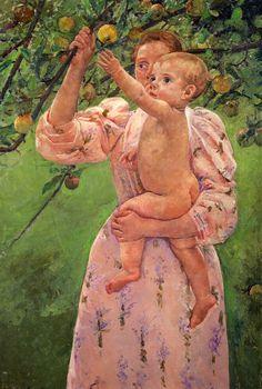 Mary Cassatt (1844-1926). Baby reaching for an apple (1893).