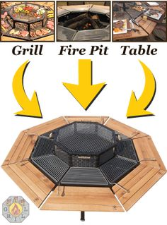 Jag grill/firepit with table. Available to seat 6 or 8
