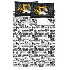 Full NCAA COL Missouri Tiger Columbia Anthem Sheet Set Black Gold Yellow Sports Patterned Bedding Team Logo Missouri Merchandise Team Spirit College