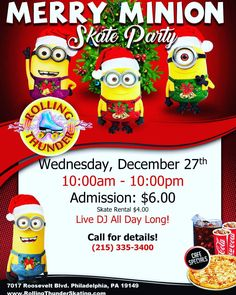 YES WE ARE OPEN!!!. 10AM-10PM. MERRY MINIONS. . . . . #RollingThunder #rollerskating #holidays #christmas #noschool #minions #snow #winter #skating #family #friends #fun #instagood #philly #philadelphia