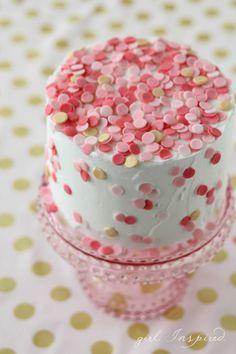Yummy! Pink and Gold Wedding Cake Idea //  DIY Confetti Cake from blog.joann.com