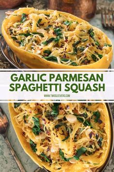 This Vegetarian Instant Pot Garlic Parmesan Spaghetti Squash is one of the tastiest spaghetti squash recipes ever and makes a beautiful presentation. Tasty Spaghetti Squash, Best Spaghetti Squash Recipes, Garlic Parmesan Spaghetti Squash, Low Carb Spaghetti, Best Pasta Dishes, Spaghetti Squash Carbonara, Vegetable Dishes, Vegetable Recipes, Vegetarian Recipes