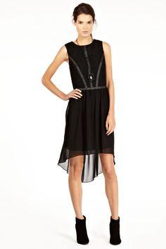 Lace And PU Dip Hem Dress | Black | Oasis Stores