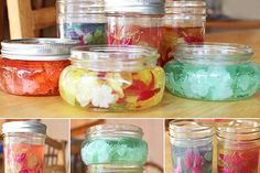 DIY Gel Air Fresheners: 2 cups liquid potpourri/water+essential oils 4 individual envelopes of unflavored gelatin 2 tbsp. salt heat-safe containers (I used my favorite container for all sorts of DIY homemade products…Mason jars! Cleaners Homemade, Diy Cleaners, Sent Bon, Ideas Hogar, Home Scents, Make Your Own, How To Make, Cleaning Recipes, Living At Home