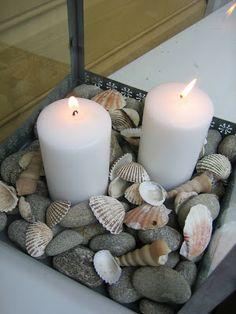 Grey beach stones mixed with found weathered seashells - so beachy!