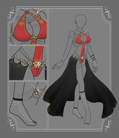 Improve Your Look With This Great Fashion Advice Adoptable: Clothing: 316 (CLOSED) Auction by Biological-Solutions Clothing Sketches, Dress Sketches, Dress Drawing, Drawing Clothes, Fashion Design Drawings, Fashion Sketches, Anime Dress, Fantasy Dress, Anime Sexy