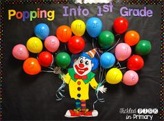 FREE Summer countdown bulletin board w/activities for each day Carnival Bulletin Boards, Circus Theme Classroom, Bulletin Board Paper, Interactive Bulletin Boards, Back To School Bulletin Boards, Classroom Bulletin Boards, Classroom Crafts, Classroom Ideas, Primary Classroom