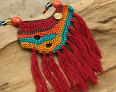 Collier tribal tissées de lapis-lazuli dans par cafeandshiraz
