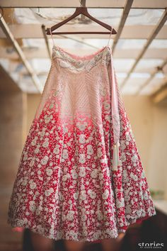 Anamika Khanna Pink To Red Embroidered Bridal #Lehenga.