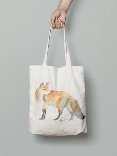 Fox handmade eco friendly handbag- watercolor printed Watercolor Animals, Watercolor Print, Hand Bags, Eco Friendly, Fox, Reusable Tote Bags, Printed, Handmade, Hand Made