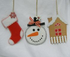 felt stocking, snowman and ginger bread house decorations !