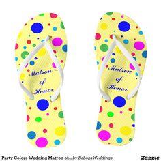 Party Colors Wedding Matron of Honor Flip Flops