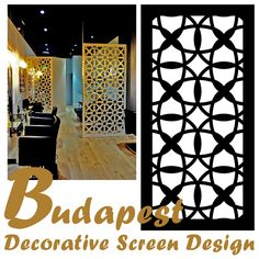 The laser cut intersecting circles of our exotic 'Budapest' decorative screen design makes this pattern a nice choice for a casual interior decorating. Budapest, Decorative Screens, Bohemian Interior, Screen Design, Hungary, Animal Print Rug, Spotlight, Circles, How To Find Out