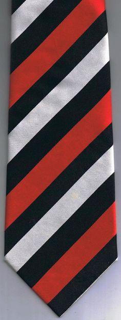 Fabio Fazio Hand Made Neck Tie Red Black White Stripes 100% Silk