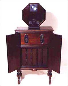 First TV 1928 - General Electric (Received alternating sound and picture) Vintage Television, Television Set, Tvs, Rustic Industrial Decor, Vintage Appliances, Antique Radio, Vintage Tv, Vintage Stuff, Radio Usa