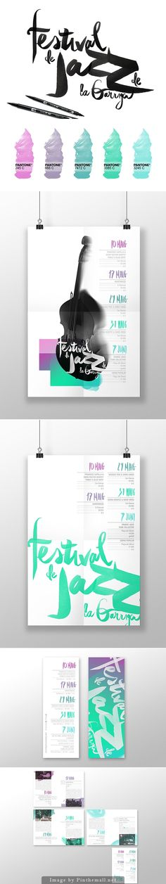 Graphisms , Typography , Infographics and Design - Festival de Jazz de la Garriga by Chaparro Creative Studio - CoDesign Magazine Corporate Design, Graphic Design Branding, Identity Design, Typography Design, Logo Design, Corporate Identity, Brand Identity, Jazz Festival, Editorial Layout