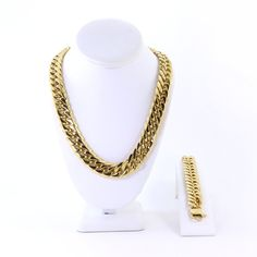 Amazon.com: Mens Thick Tight Link Yellow Gold Finish Miami Cuban Link Chain And Bracelet Set Heavy 18mm JayZ Gold Plated: Jewelry