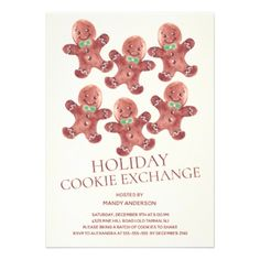 Gingerbread Men Holiday Cookie Exchange Invitation - watercolor gifts style unique ideas diy