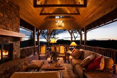 Country Porch with Antler Chandeliers & Lighting Company The Cascade, Screened porch, Wrap around porch