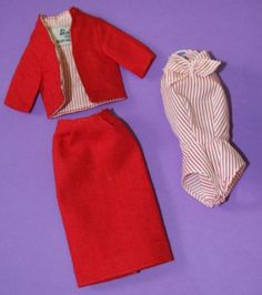 Vintage-Barbie-Reproduction-981-Busy-Gal-RED-JACKET-SKIRT-w-STRIPED-SHIRT
