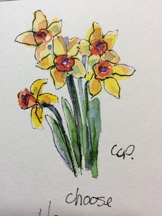 Daffodils Watercolor Card / Hand Painted Watercolor Card This card is an original watercolor not a print. It would look lovely framed. This card is painted on heavy card stock. I have used watercolor and ink. The card is 5x7 and in portrait. Comes with a matching envelope in a