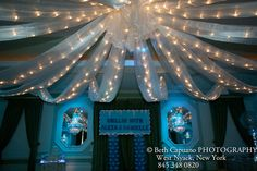 White Organza Draping with Lights on Celing