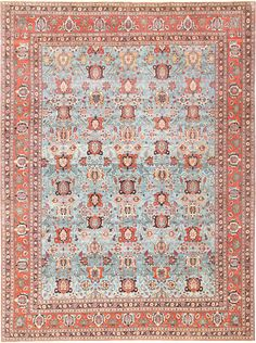View this breathtaking and finely woven, light blue background, antique Persian Tabriz Oriental rug 48820 from Nazmiyal Collection in New York City. 10 ft 6 in x 13 ft 5 in Persian Carpet, Persian Rug, Room Size Rugs, Carpet Shops, Tabriz Rug, Light Blue Background, Beige Carpet, Carpet Colors, Living Room