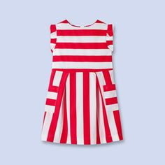 Striped dress with pockets WHITE/RED Girl - Boys and girls Clothes - Jacadi Paris