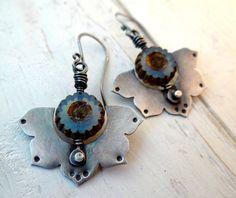 Tribal Lotus Earrings // sterling silver flowers with cornflower blue czech glass beads -- rustic zen yoga jewelry (2437)