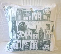 decorative art pillow/cushion cover/pillow cover/scatter cushion/sofa cushion/hand printed/linocut/light gray/village/gray white on Etsy, $45.00