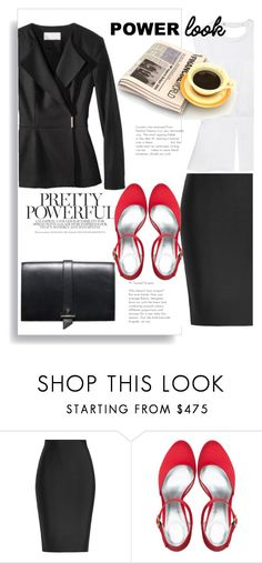 """the power of red shoes"" by theworldisatourfeet ❤ liked on Polyvore featuring Roland Mouret, polyvoreeditorial and powerlook"