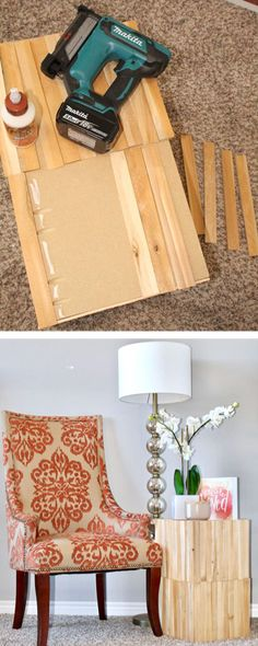 Shim Side table using mdf and shims for the home living room #sidetable #shims
