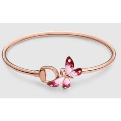 Gucci Gucci Flora Bracelet In Rose Gold And Enamel ($2,475) ❤ liked on Polyvore featuring jewelry, bracelets, rose gold, women's fine jewelry, enamel bangle, chain bracelet, fine jewelry, bracelet bangle и butterfly jewelry