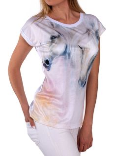 Artistic Female T-shirt with painted horses, HIGH QUALITY! by ArtEgoDesigns on Etsy