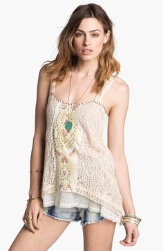 Free People 'Maya' Embroidered Crochet Tank available at #Nordstrom