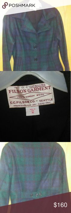 Filson wool peacoat. Fabulous!! Beautiful lined wool coat.  Worn a handful of times but does not fit anymore.  Womens size medium.  See the Filson website for their size guide.  Dark navy blue and green plaid, its difficult to get an accurate color in the picture.  Ask any questions before purchasing. Filson Jackets & Coats Pea Coats
