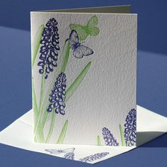 "Letterpress printed in fresh spring green and ultraviolet blue-purple on white paper, this note card is blank inside for your personal, handwritten greeting.    This card is also available with a ""Happy Birthday"" greeting.    Item No.: BOT-053  Material: 100% cotton paper with corresponding printed envelope  Colors: spring green and blue-purple inks on pearl white paper  Size: 4.25x5.5"" folded card with A2 envelope  Price: $5.00 each    Order a box set here: http://www.etsy.com/"